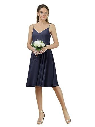 Alicepub Short V-neck Bridesmaid Dress Chiffon Spaghetti Evening Party Prom Gown, Dark Navy