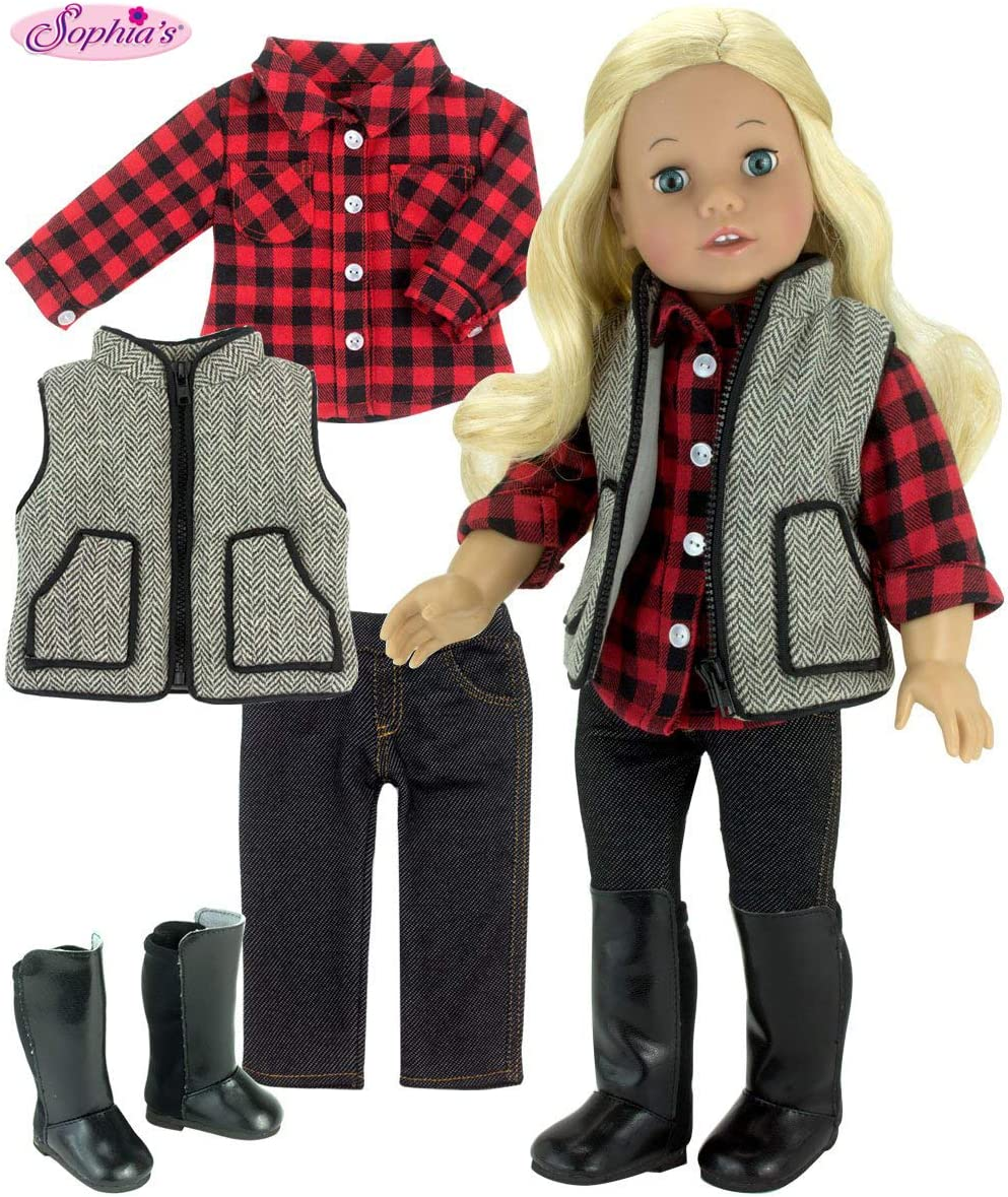Sophia's Winter Doll Outfit with Boots Includes Red Checkered Shirt, Pants, Vest & Tall Boots for 18 Inch Dolls
