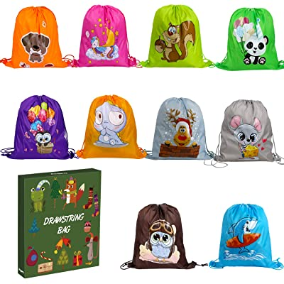 Anpro 10 Children's Party Bags, Children's Party Drawstring Bags, Boys and Girls, Gift Bags, Birthday Parties, Children's Parties: Toys & Games