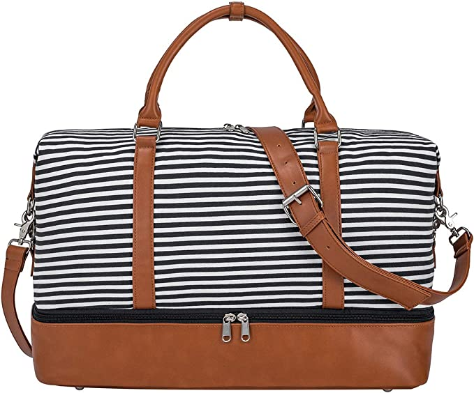 S-ZONE Women Ladies Canvas Weekender Bag Overnight Carry-on Duffel Tote Bag with PU Leather Strap(Black Strips with Shoe Compartment)
