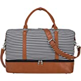 S-ZONE Women Weekend Bag Canvas Overnight Travel Tote Bag PU Leather Strap Travel Weekender Overnight Carry-on with Shoe…