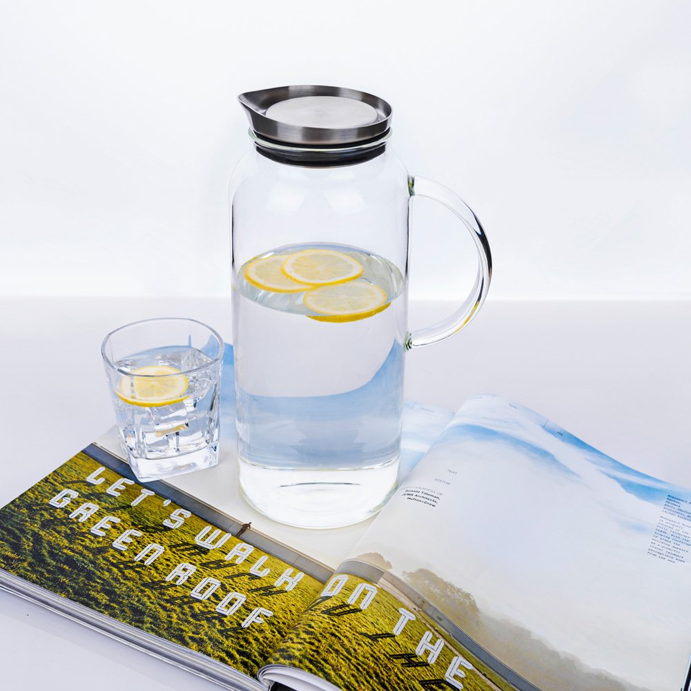 68 Ounces Glass Pitcher with Lid, Hot/Cold Water Carafe, Juice Jar and Iced Tea Pitcher by Purefold (Image #2)