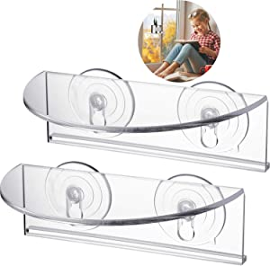 BBTO 2 Pieces Ledge Suction Cup Window Shelf Acrylic Plant Window Shelf Indoor Window Plant Shelf for Creating Indoor Plants Garden, Seed Starter, Figurines on Your Window