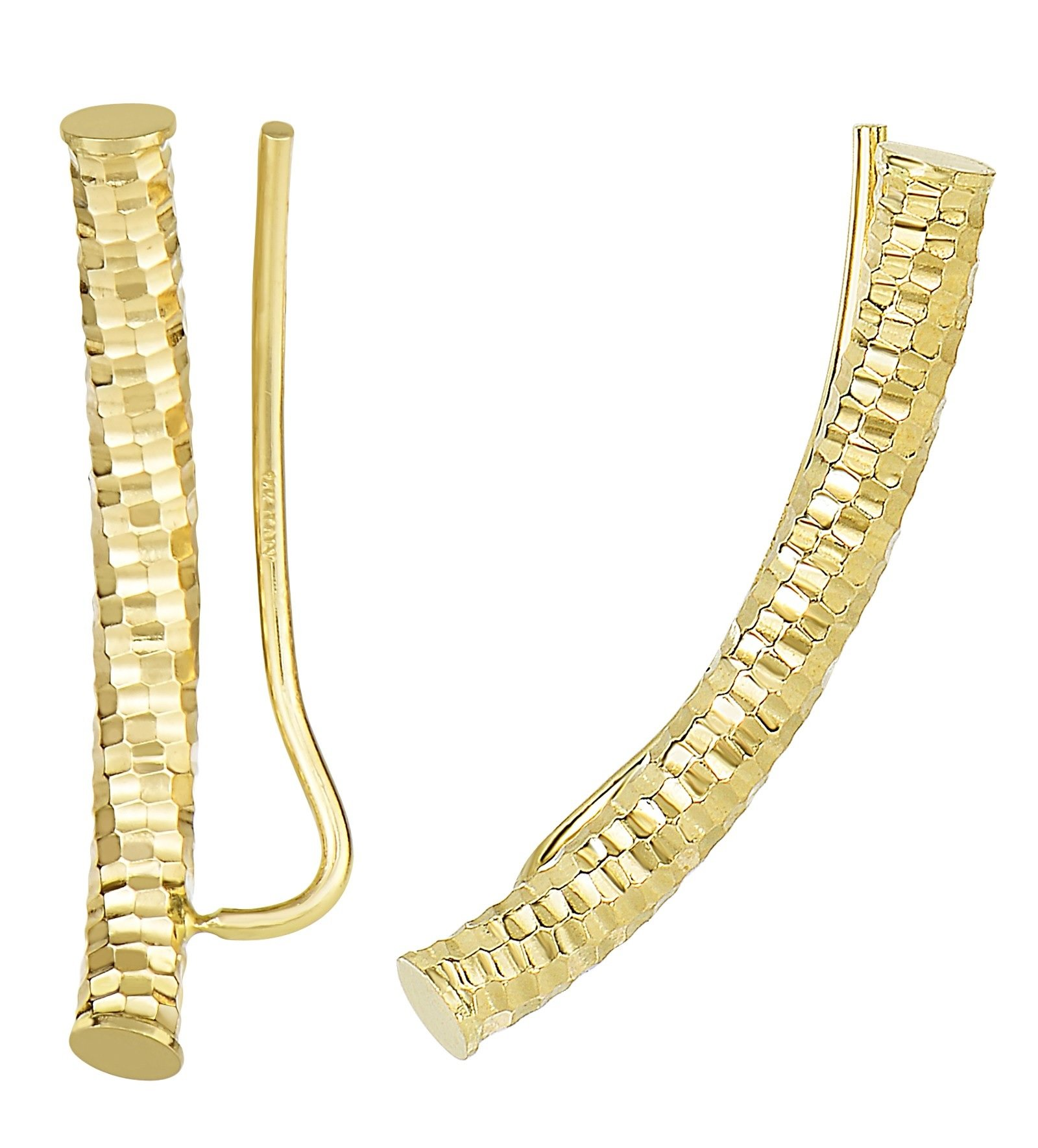 14k Real Yellow Gold Ear Climber Diamond-Cut Curved Bar Earrings 21mm by Ritastephens