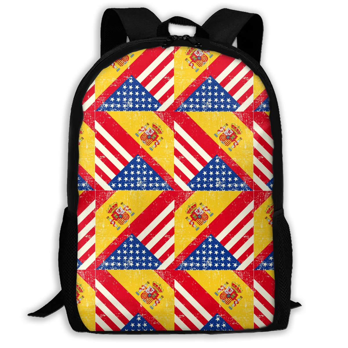 5788f3543034 NO4LRM Adult Shoulder Bag USA American Spain Flag Multipurpose 3D Printing  Casual Backpack School Bags for Travel Camping Hiking Outdoor Sports Men ...