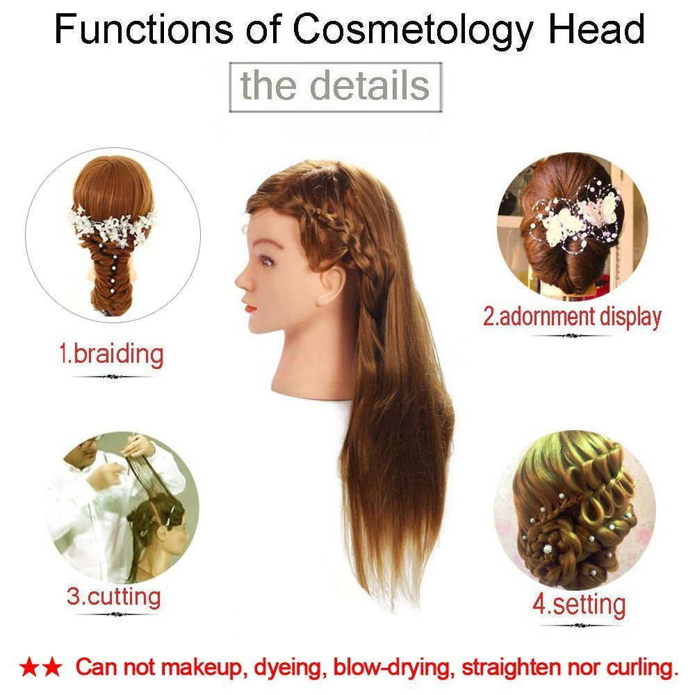 Mannequin Head, Beauty Star 20 Inch Long Gold Hair Cosmetology Mannequin Manikin Training Head Model Hairdressing Styling Practice Training Doll Heads with Clamp and Accessories by Beautystar (Image #3)