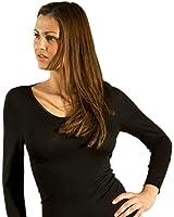 Hocosa Women's Long-Underwear Shirt, Long Sleeve, V-neck, Organic Wool-Silk