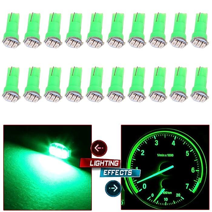 20x T5 17 74 73 Instrument Gauge Cluster Dash LED Bulbs Indicator Light (Green)