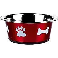 Classic Pet Products Gamelle classique Motif pattes, 900 ml, Rouge