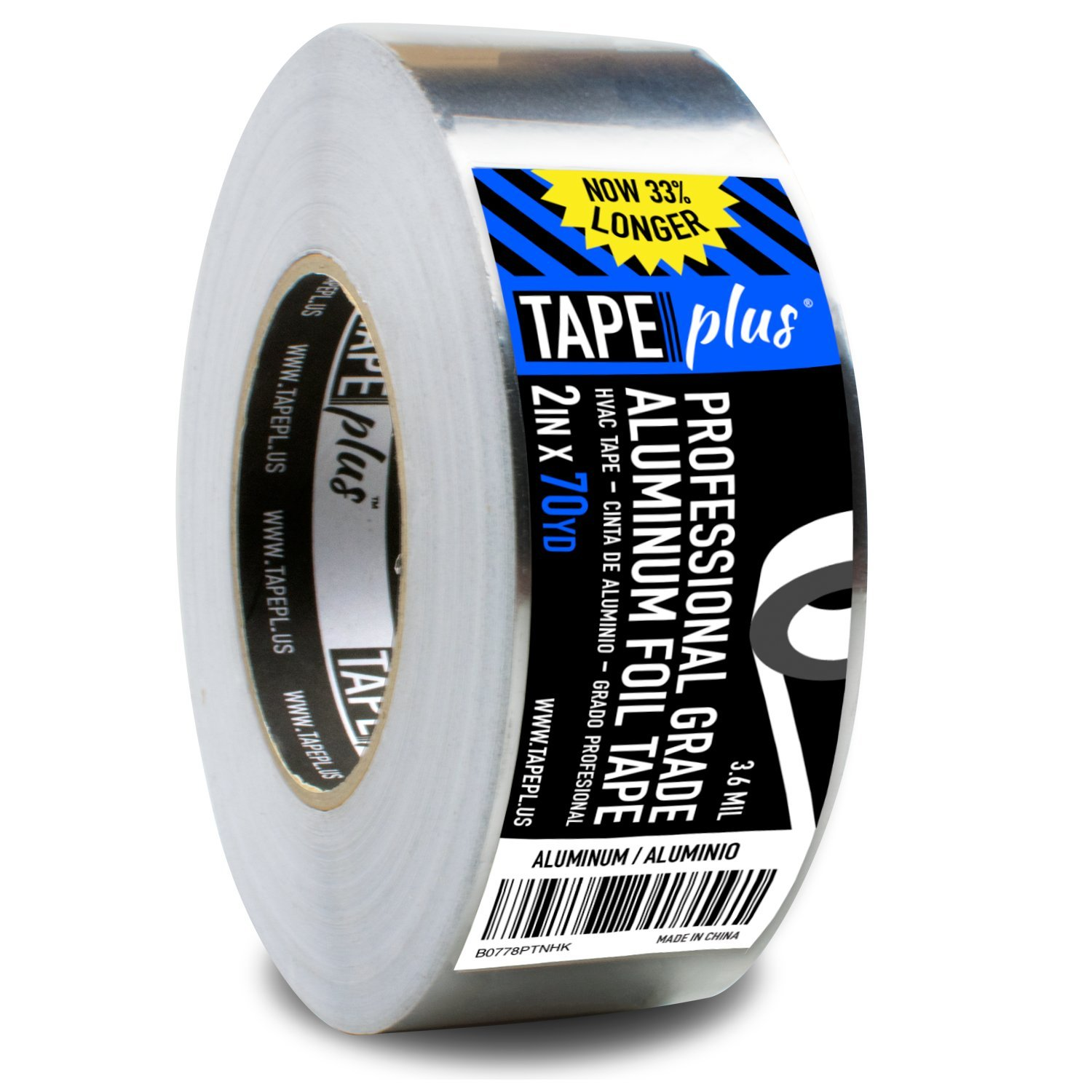 Professional Grade Aluminum Foil Tape - 2 Inch by 210 Feet (70 Yards) - Perfect for HVAC, Sealing & Patching Hot & Cold Air Ducts, Metal Repair, and Much More! by TapePlus