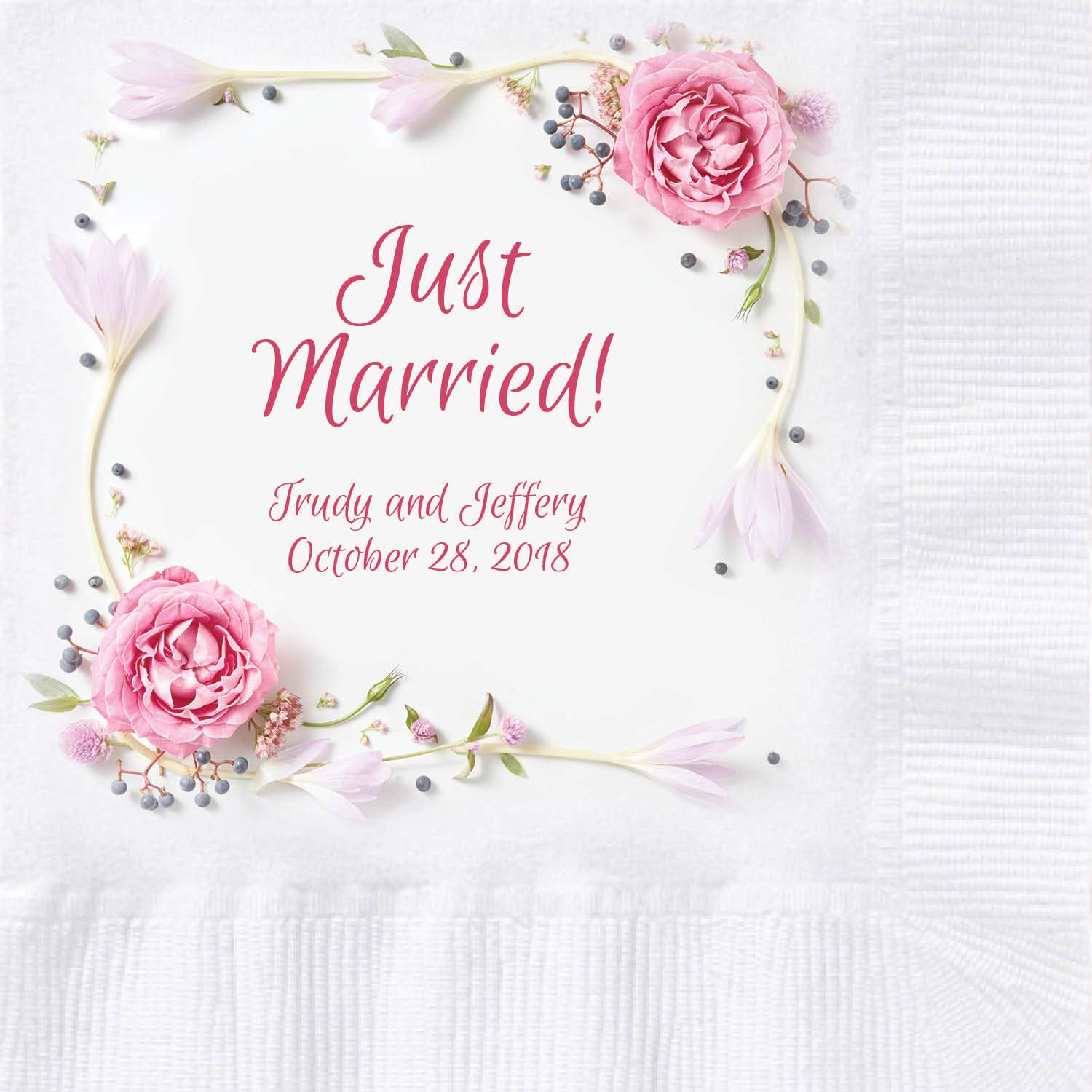 Custom Printed Wedding Napkins with Rose Wreath Border, 250 ct by Hoffmaster Group