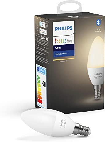 Philips Hue White E14 LED Lampe Einzelpack, dimmbar, warmweißes Licht, steuerbar via App, kompatibel mit Amazon Alexa (Echo, Echo Dot)