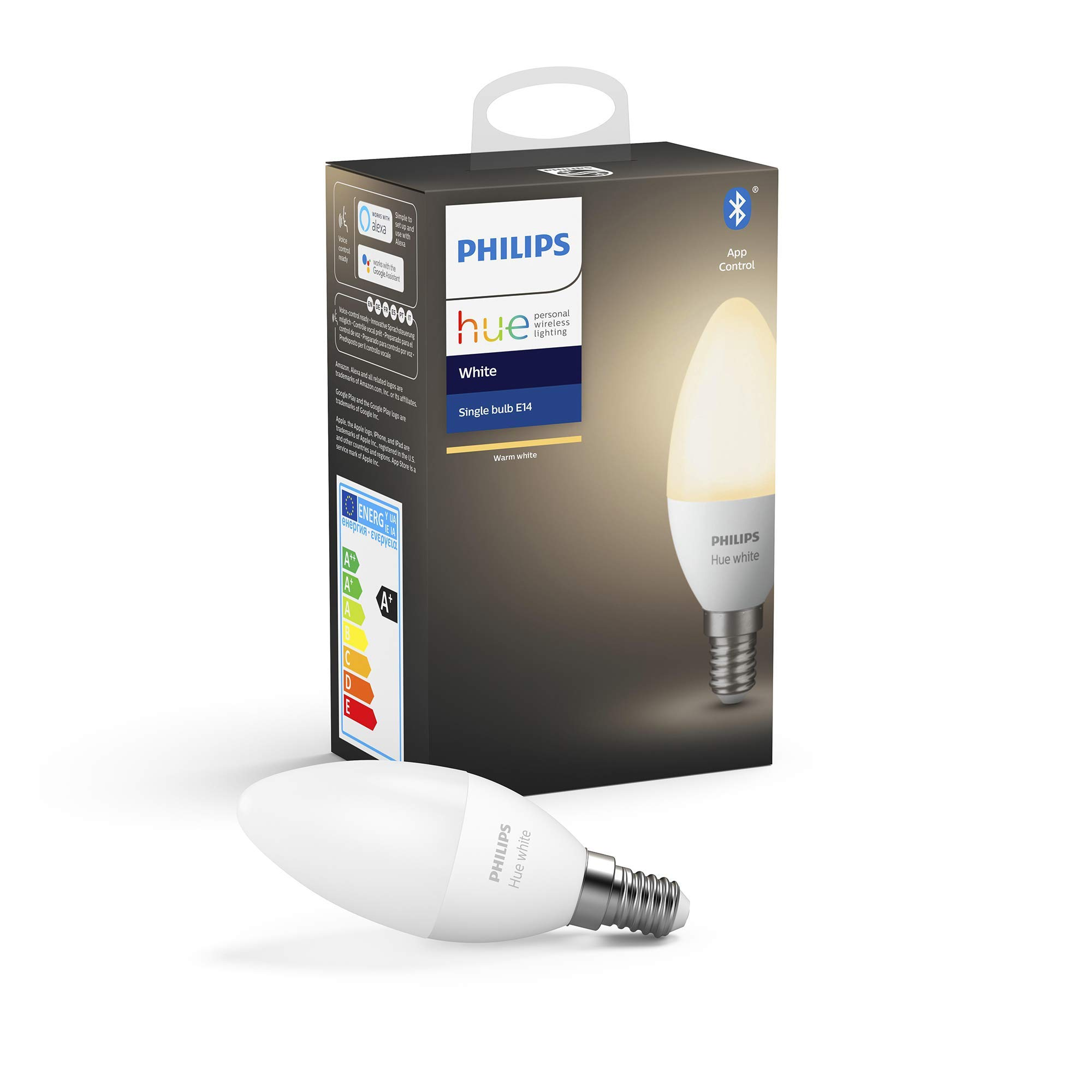 Philips Hue Bombilla Inteligente LED E14, con Bluetooth, Luz Blanca Cálida, Compatible con Alexa y Google Home
