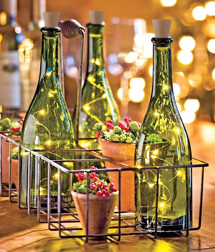 [Pack de 3] luces LED de corcho para botellas, 145 cm, cadena de alambre de cobre con 15 bombillas LED blancas, azules y rojas para botellas, decoración de ...