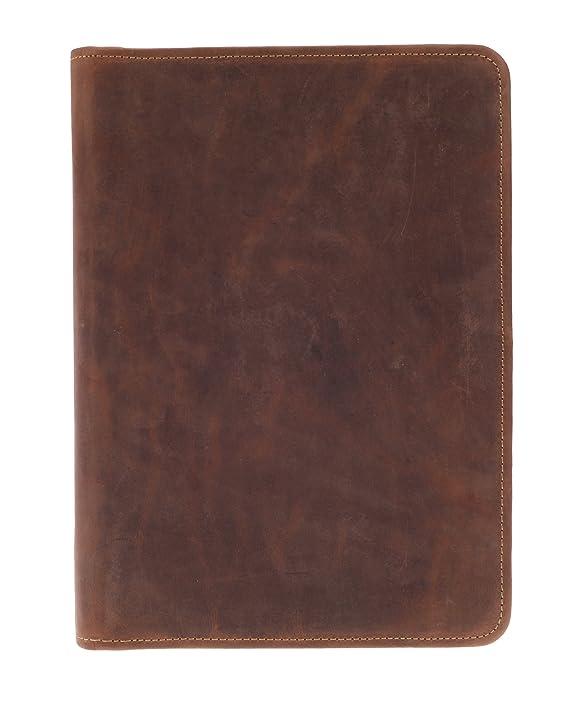 5bc35b96f9edb Greenburry Leder-Schreibmappe DIN A4 - Vintage Konferenzmappe mit  Reißverschluss – A4 Schreibmappe aus Leder - hochwertige Vertretermappe aus  Leder - 36 x ...