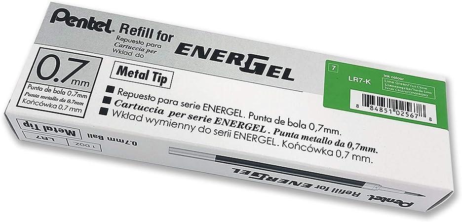 Pentel Recambio Energel retr/áctil con punta de bola Escritura en color verde