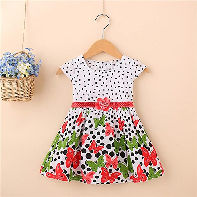 Amazon.com: ShiTou Girls Dress&&Girls Dot Butterfly Print Flower Casual Dress Clothes (Red, l): Clothing