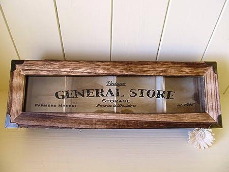 Caja joyero y almacenamiento de madera estilo rústico chic con 4 compartimentos, tapa de cristal, para regalo: Amazon.es: Hogar