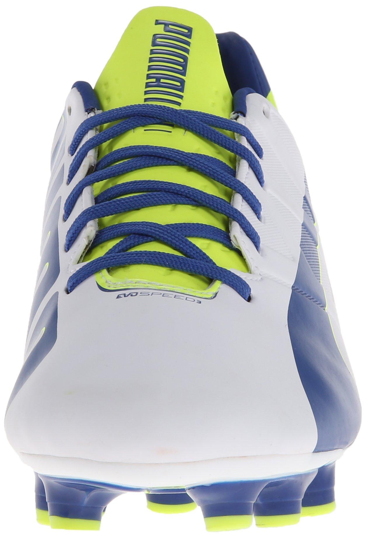 PUMA Women's Evo Speed 3.3 Firm Ground Soccer Shoe,White/Snorkel Blue/Fluorescent Yellow,8 B US by PUMA (Image #4)