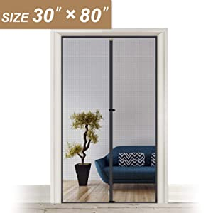 "Fiberglass Magnetic Screen Door 30 x 80, Heavy Duty for Entry Front Door Size 30""W x 80""H with Full Frame Hook&Loop Strip"