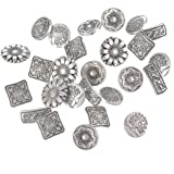 Souarts Mixed Antique Silver Color Flower Metal Buttons Pack of 50pcs