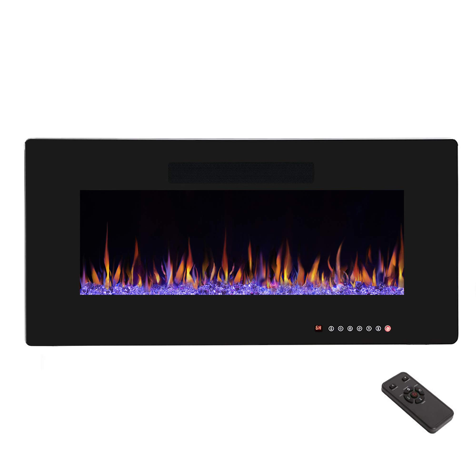 R.W.FLAME 36'' Electric Fireplace, Recessed Wall Mounted and In-wall Fireplace Heater, Fit for 2 x 4 and 2 x 6 Stud, Remote Control with Timer,Touch Screen,Adjustable Flame Color and Speed, 750-1500W by R.W.FLAME