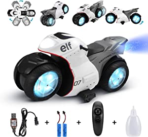 RC Motorcycle for Kids,Remote Control Car Toy for Boy and Girl,360° Spinning Action Rotating Drift Stunt Motorbike,2WD High Speed,Two Rechargeable Battery,Birthday for Kids