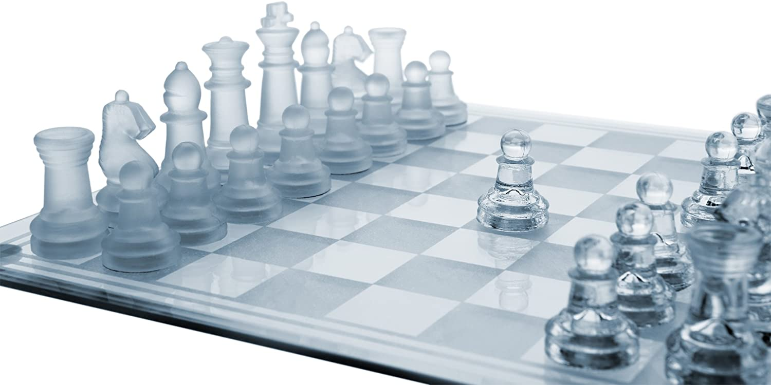 """Glass Chess Set, 3 Sizes (7.5""""/10""""/14"""") – Elegant Design- Durable Build- Fully Functional - 32 Frosted & Clear Pieces - Felted Bottoms- Easy to Carry- Reassuringly Stable - Perfect Gift!"""
