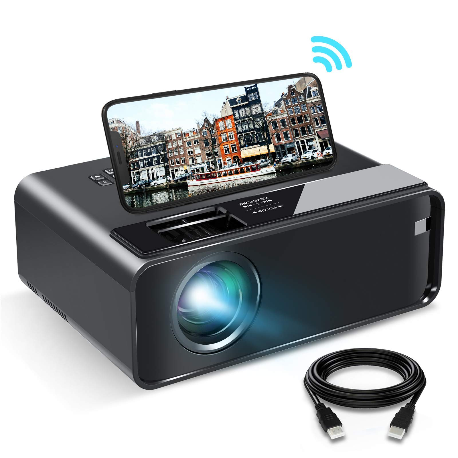 """WiFi Projector, ELEPHAS 2020 WiFi Mini Projector with Synchronize Smartphone Screen, 1080P HD Portable Projector with 6000 Lux and 200"""" Display, Compatible with Android/iOS (Black)"""