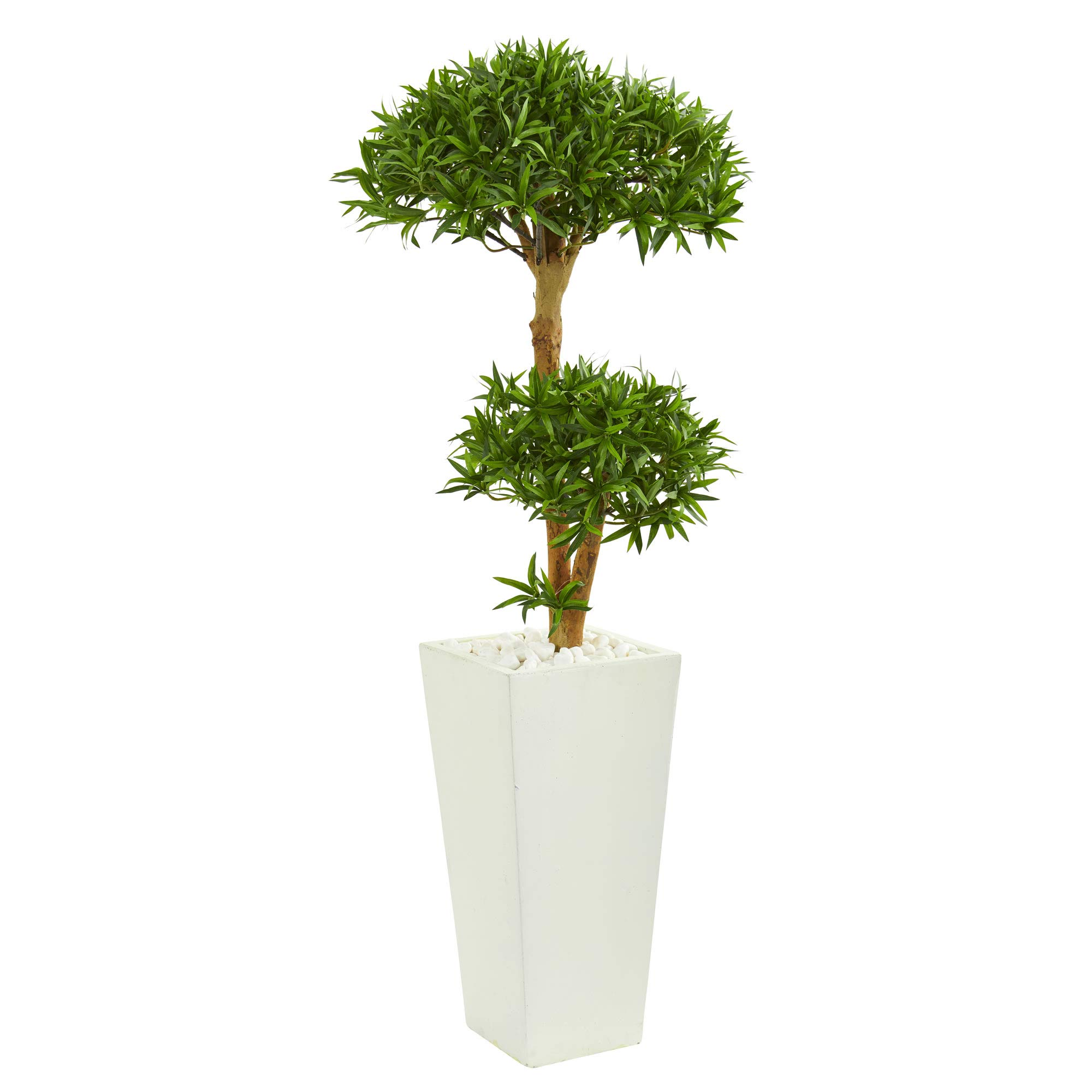 Nearly Natural 9239 50-in. Bonsai Styled Podocarpus Artificial Tower Planter Silk Trees Green