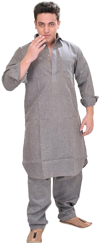 Exotic India Plain Pathani Kurta Salwar with Thread Embroidery on Neck