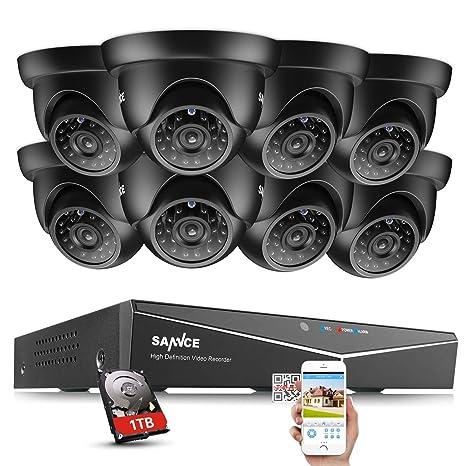 SANNCE Kit de 8 Cámaras de vigilancia Sistema de seguridad (Onvif H.264 CCTV