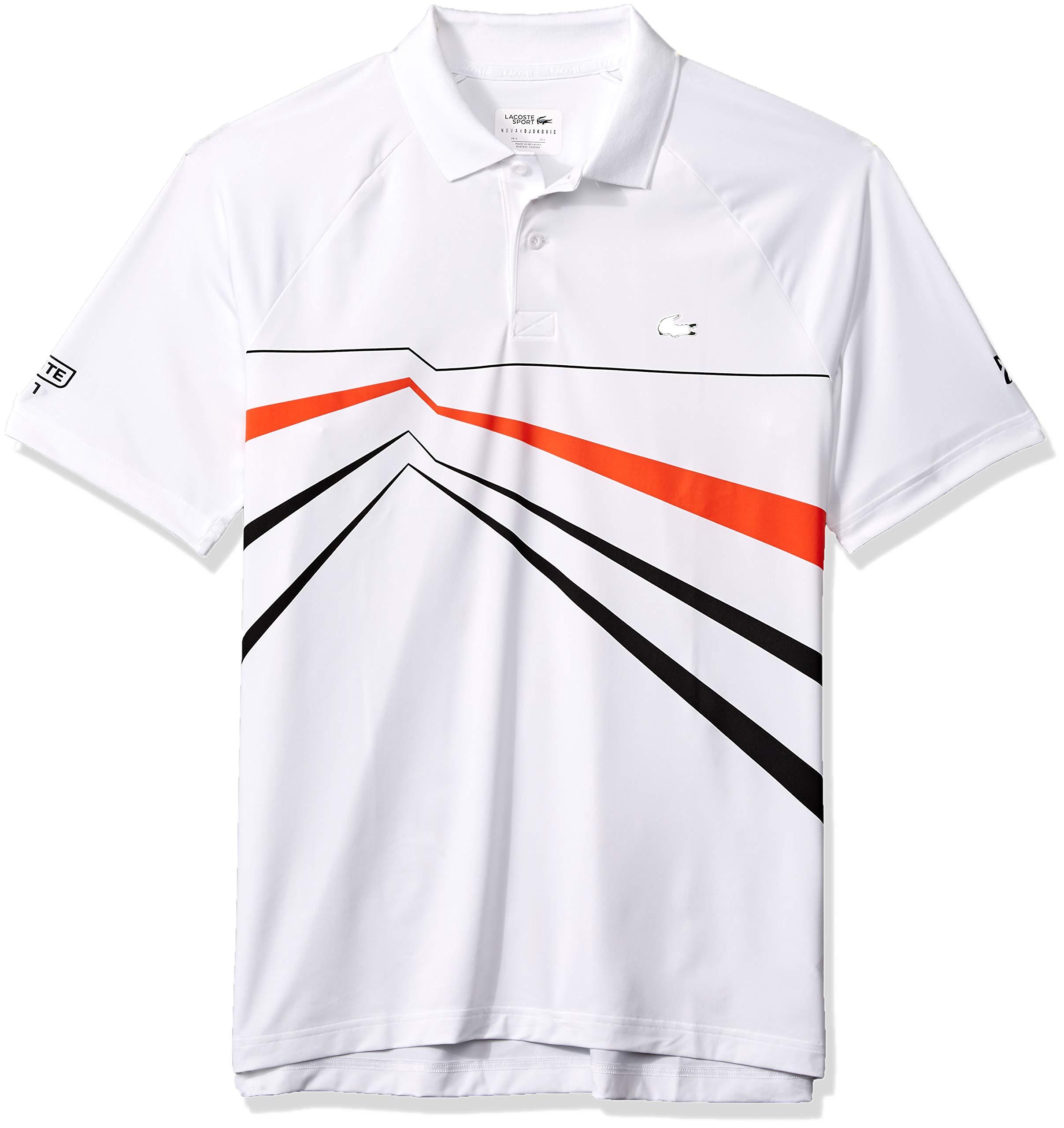 6673cd0b Lacoste Men's Sport DJOVOKIC Short Sleeve Ultra Dry GEO Print Graphic Polo,  White/Black/Mexico red, Medium