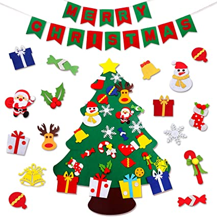 jokben diy felt christmas tree set with merry christmas felt banner wall hanging christmas decorations - Hanging Christmas Decorations