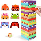 Lewo Colored Stacking Game Wooden Building BlocksTower Board Games for Kids Adults 54 Pieces (Colorful Stacking Gane)