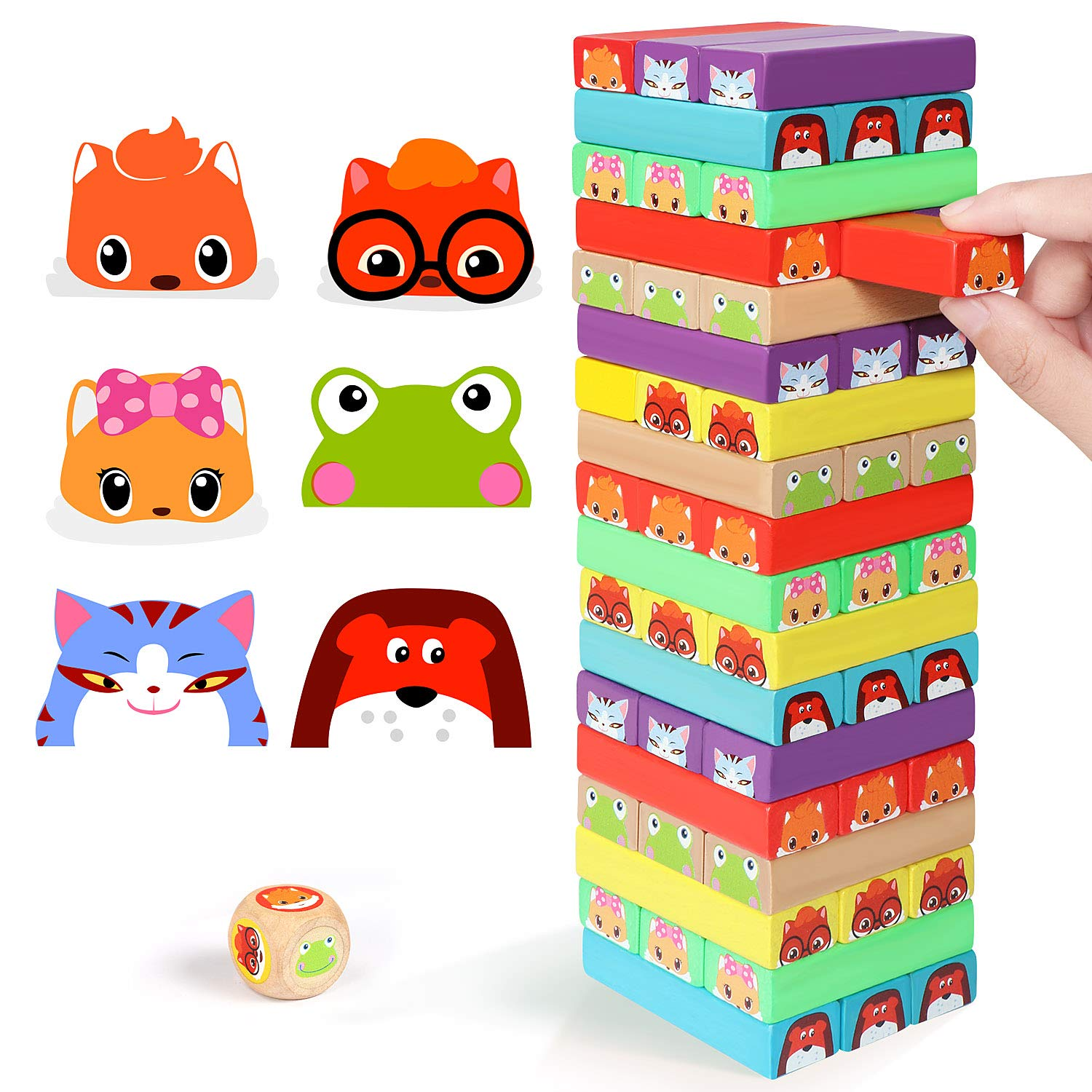 Lewo Colored Stacking Game Wooden Building BlocksTower Board Games for Kids Adults 54 Pieces (Colorful Stacking Gane) by Lewo