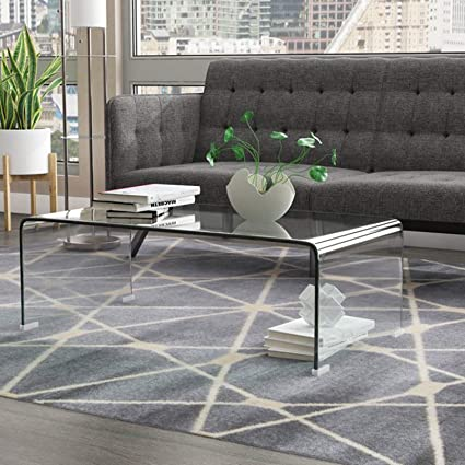 Glass Coffee Table Decor.Amazon Com Modern Coffee Table Contemporary Cocktail Table With