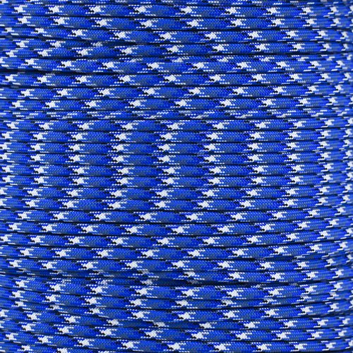 Reflective Type III 550 Paracord - 7 Strand Core - 100% Nylon, Parachute Cord, Commercial Paracord, Survival Cord (50 Feet, Bucky Blue Camo with Reflective Tracers) by PARACORD PLANET