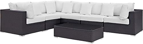 Modway Convene Collection 7-Piece Outdoor Patio Sectional Set