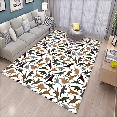 Jurassic Decor Area Rugs for Bedroom Pattern with Dinosaurs Enormous Museum History Cartoony Illustration Door Mats for Inside