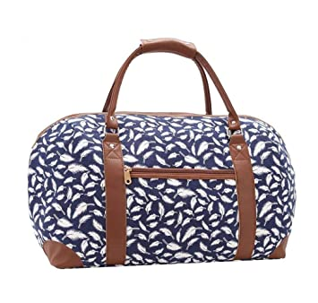 c9af0e7b03 Womens Canvas Overnight Bag Maternity Weekend Holdall Ladies Tote Handbag  Hand Luggage Large Travel Bags 2161 (2174 Navy Feather)  Amazon.co.uk   Luggage