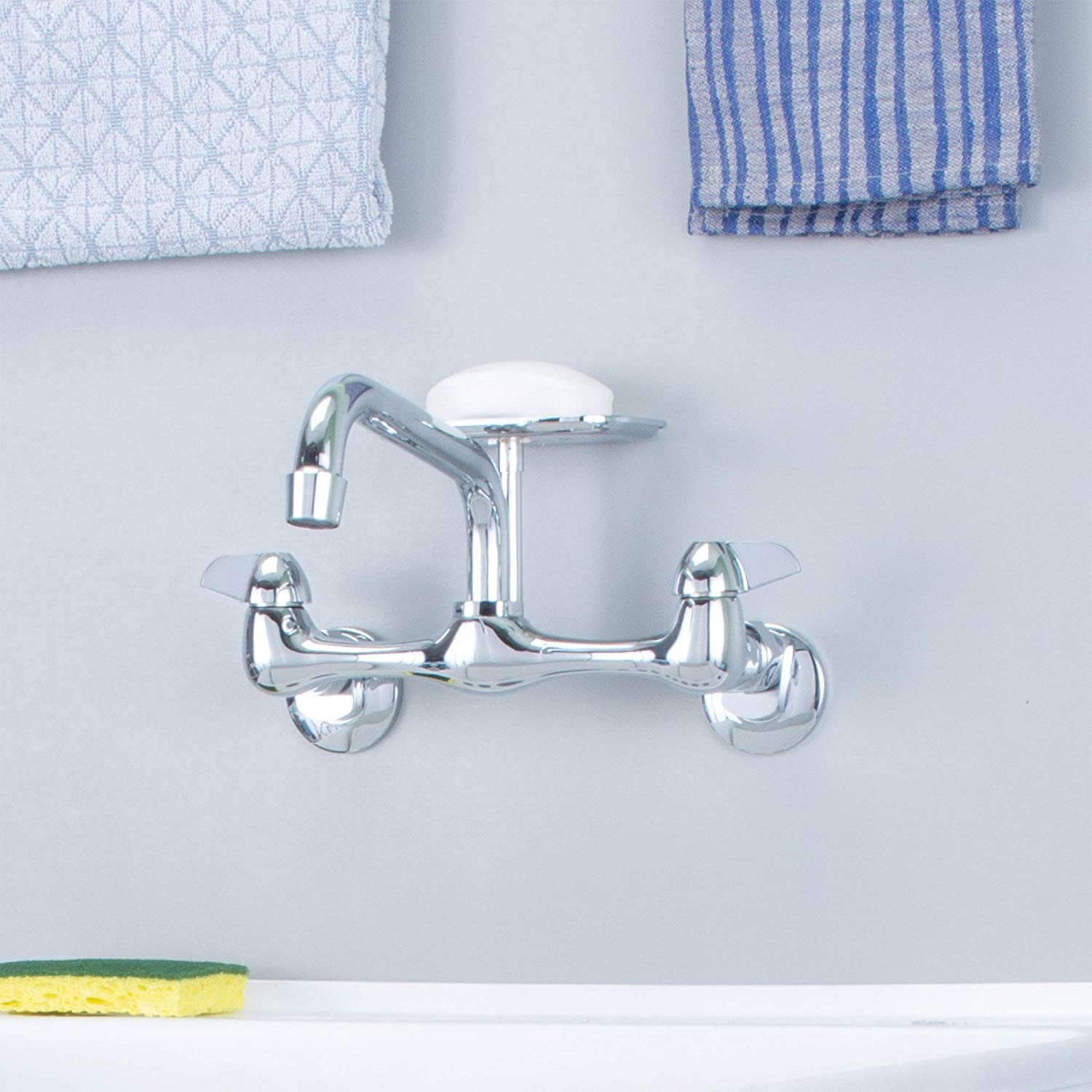 Heavy Duty Utility Sink Tap with Raised Soap Dish Double Handles Chrome Finish Wall Mounted Laundry Tub Faucet by JS Jackson Supplies