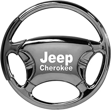 INC Au-Tomotive Gold Jeep Cherokee Black Chrome Steering Wheel Key Chain