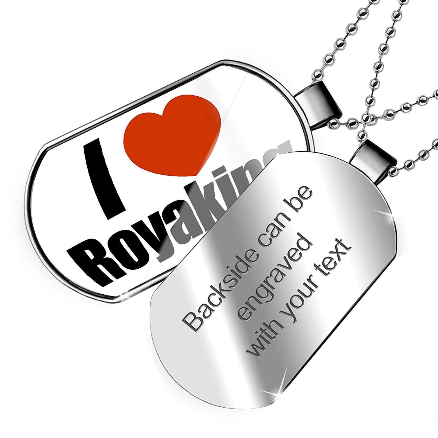 NEONBLOND Personalized Name Engraved I Love Royaking Dogtag Necklace