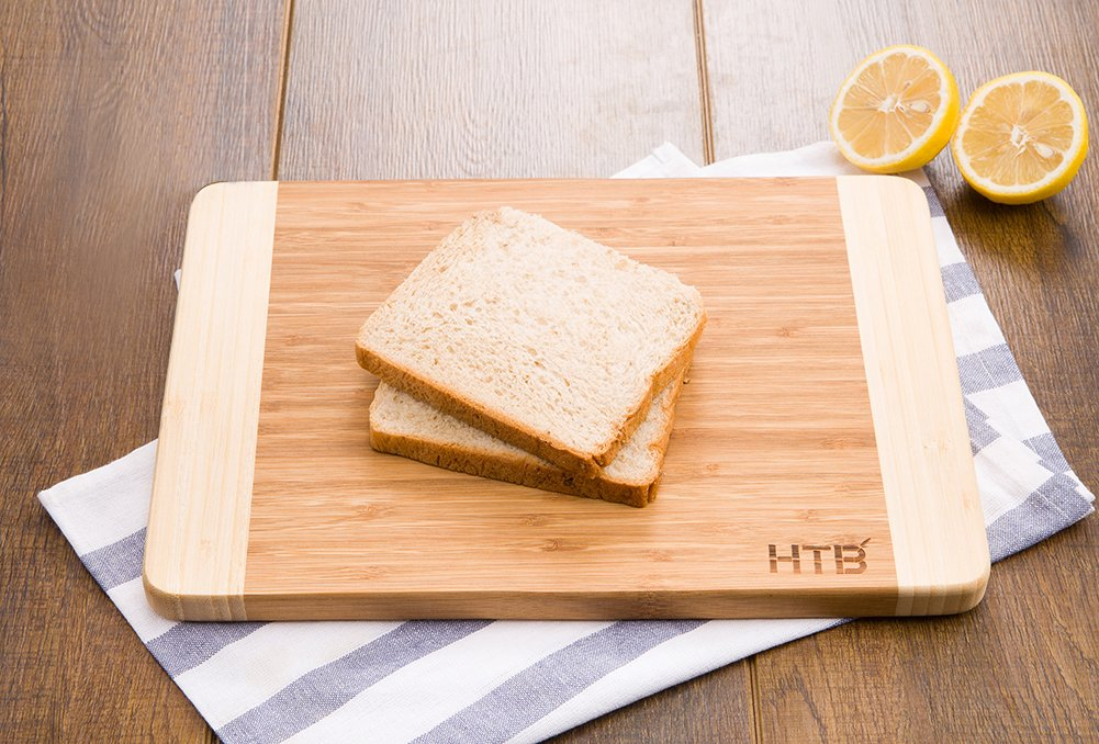 HTB 100% Bamboo Cutting Board,Thick Bamboo For Food Prep, Making Cocktails or Serving Appetizers 03L by HTB (Image #4)