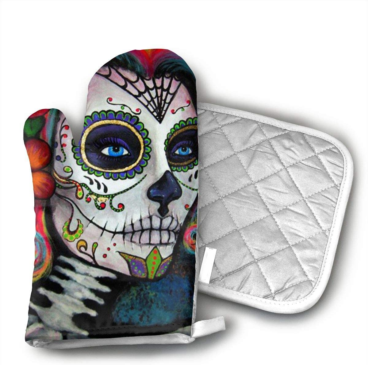 Sugar Skull Candy Oven Mitts And BBQ Gloves Pot Holders, Heat Resistant Mitts For Finger Hand Wrist Protection With Inner Lining, Kitchen Gloves For Grilling Machine Baking Grilling With Non-Slip