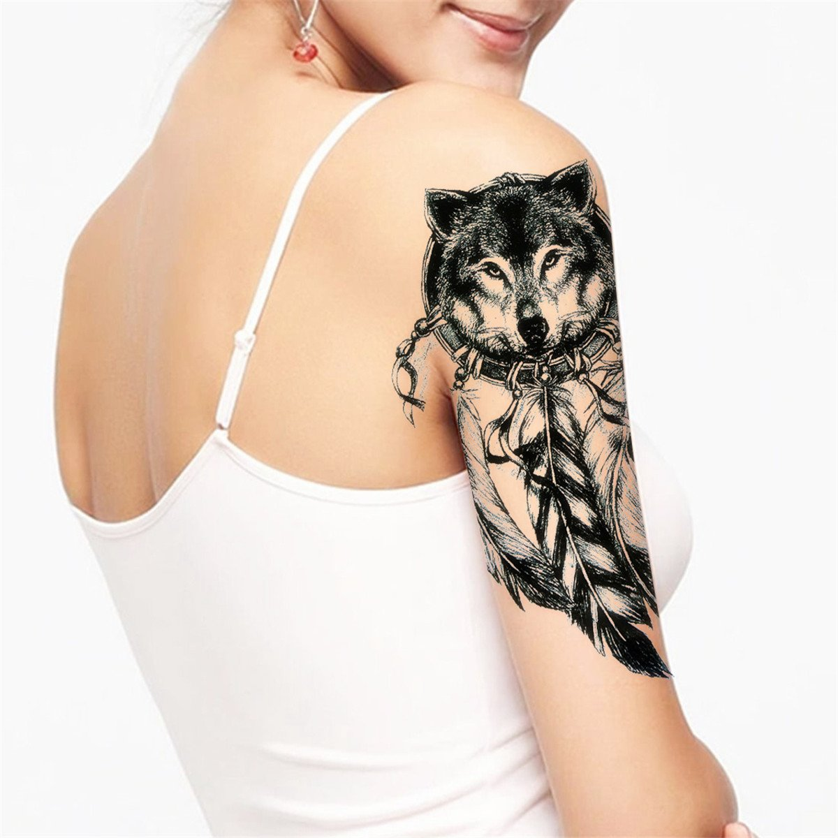 Amazon.com : COKOHAPPY 5 Sheets Temporary Tattoo Black Wolf Dream Catcher for Women Men : Beauty