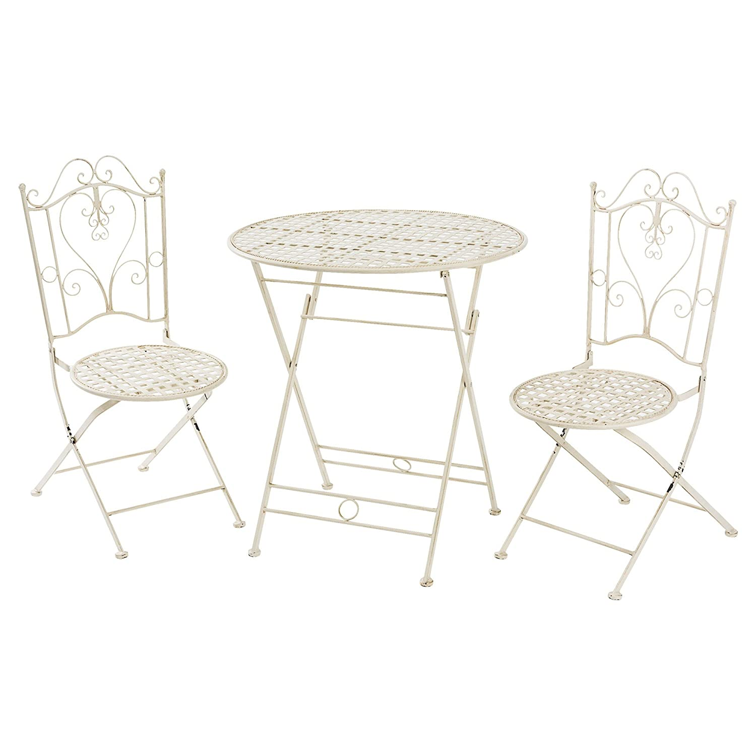 miavilla gartenm bel lana bistro set vintage metall antik wei 3 teilig jetzt kaufen. Black Bedroom Furniture Sets. Home Design Ideas