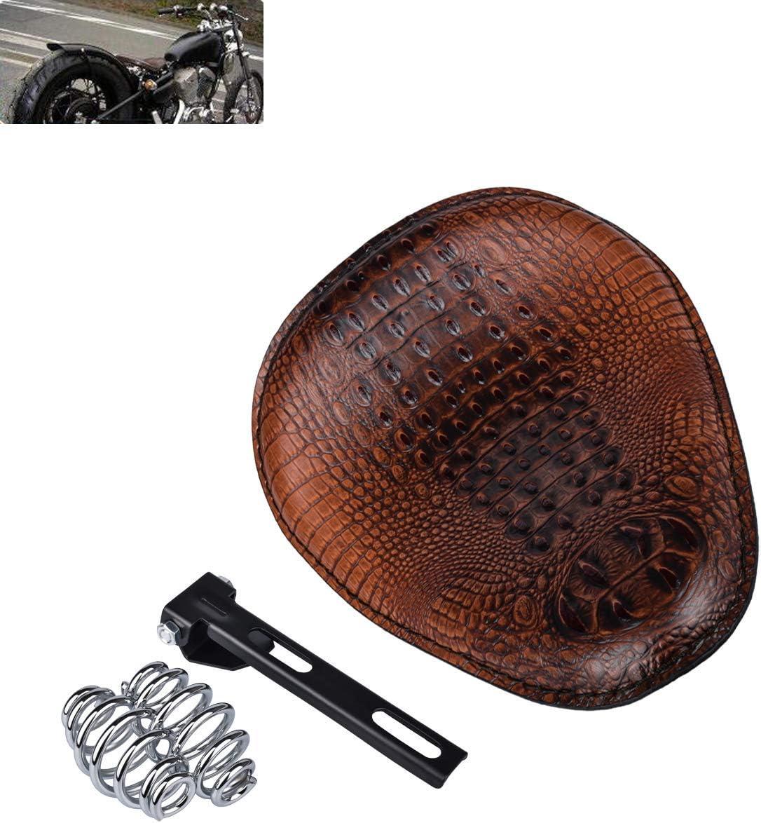 Coj/ín Universal de Piel de cocodrilo para sill/ín de Motocicleta Harley//Honda//Yamaha//Kawasaki marr/ón//Negro MeterMall
