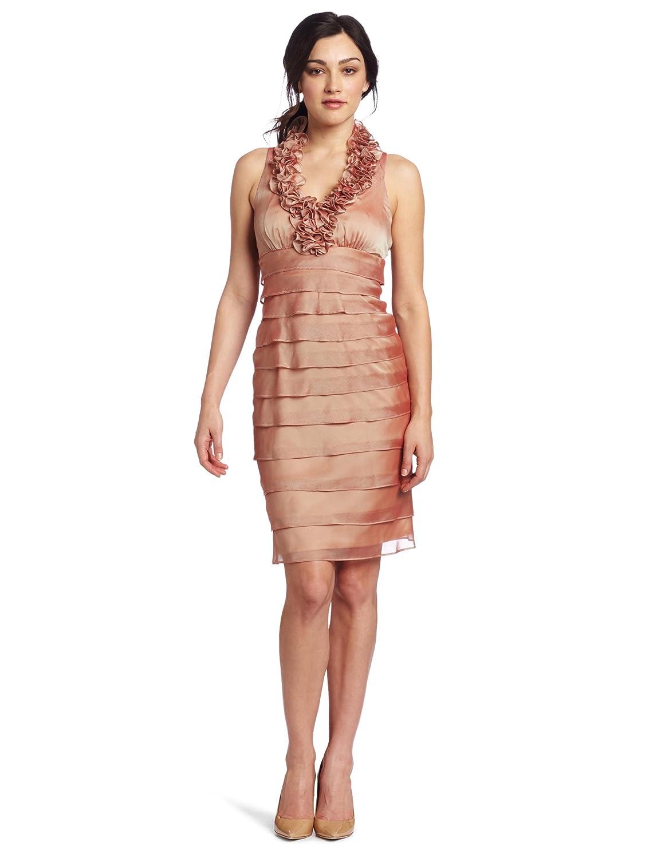 London Times Women's Iridescent Chiffon Shutter Tuck Dress